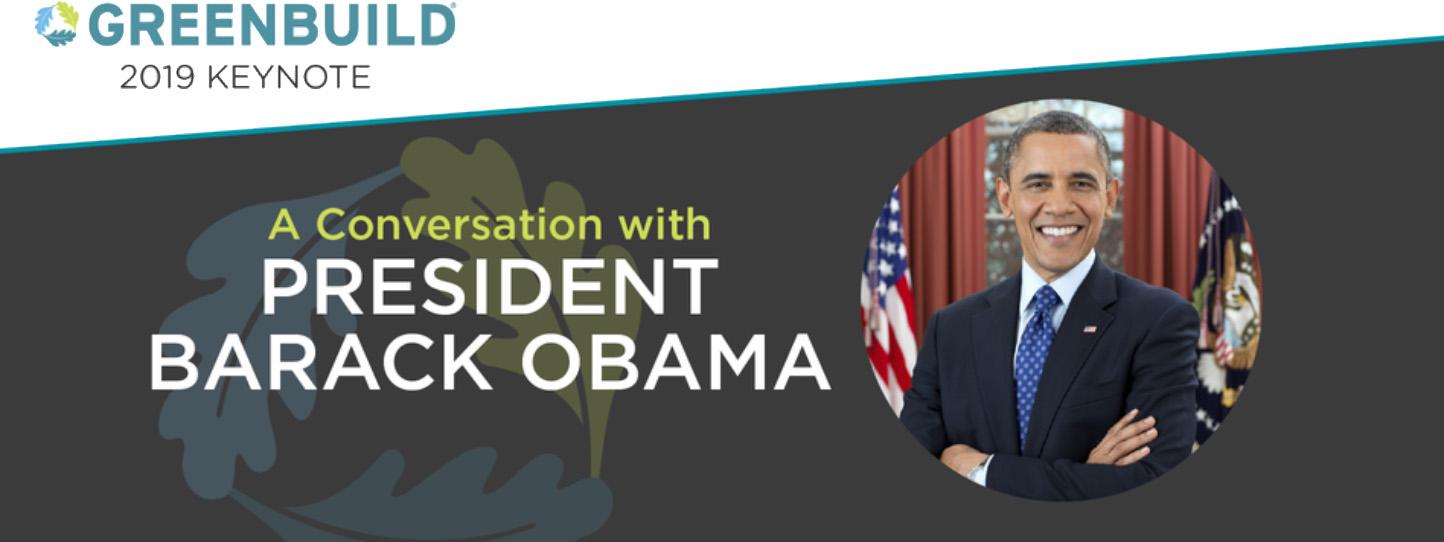 バラク・オバマ前大統領が2019年のグリーンビルドで基調講演